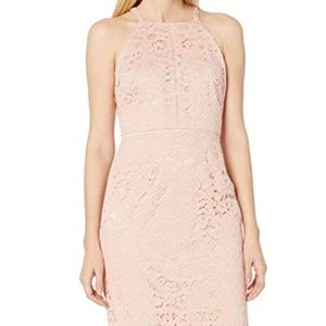 Vince Camuto Nude Blush Lace Halter Bodycon Dress